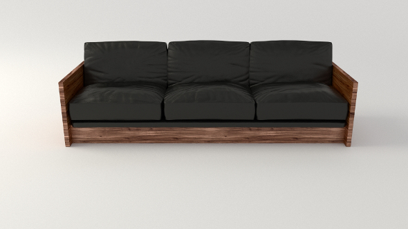 Black Leather Sofa - 3DOcean Item for Sale