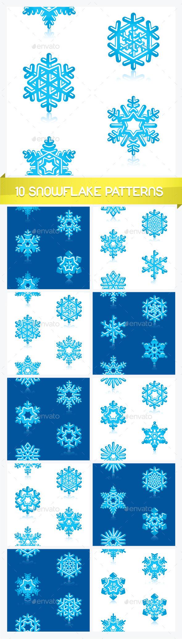 Ten Snowflake Patterns  - Seasons Nature