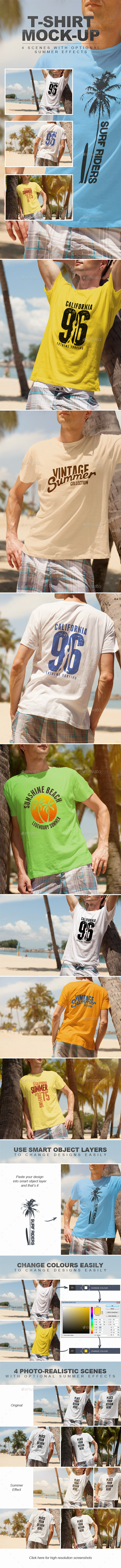 Summer Male T-shirt Mock-up - T-shirts Apparel