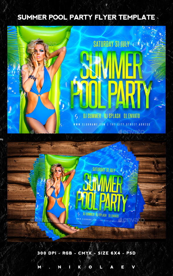 Summer Pool Party Flyer By Maksn  Graphicriver