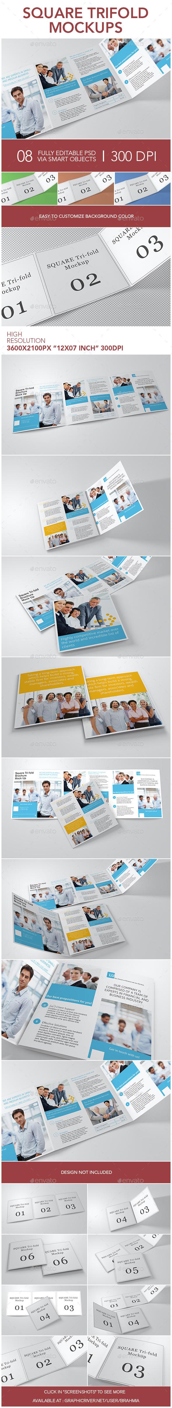 Square Trifold Mockups - Brochures Print