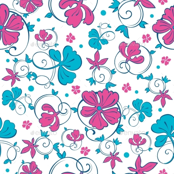 Vector Swirly Vibrant Flowers Seamless Pattern - Backgrounds Decorative