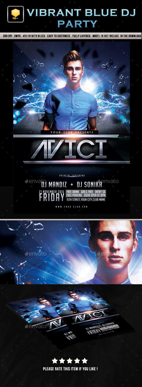 Vibrant Blue DJ Party - Clubs & Parties Events