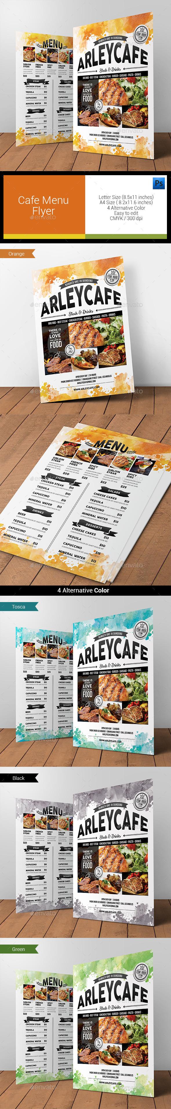 Watercolor Cafe Menu Flyer  - Food Menus Print Templates
