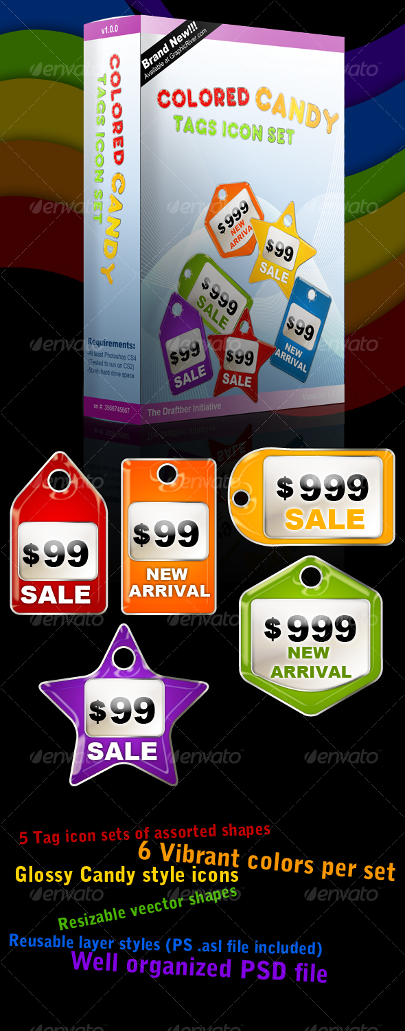Colored Candy Price Tags Icon Set - Web Icons