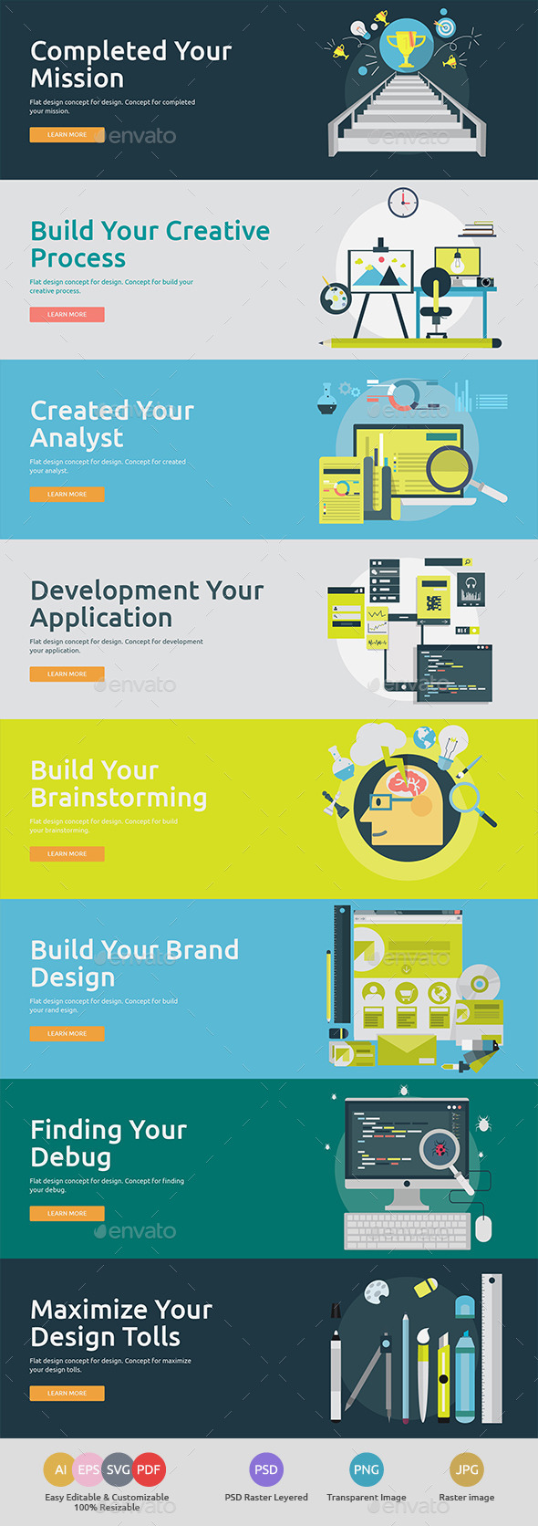 Flat Concept Banners for Design 2 - Technology Conceptual