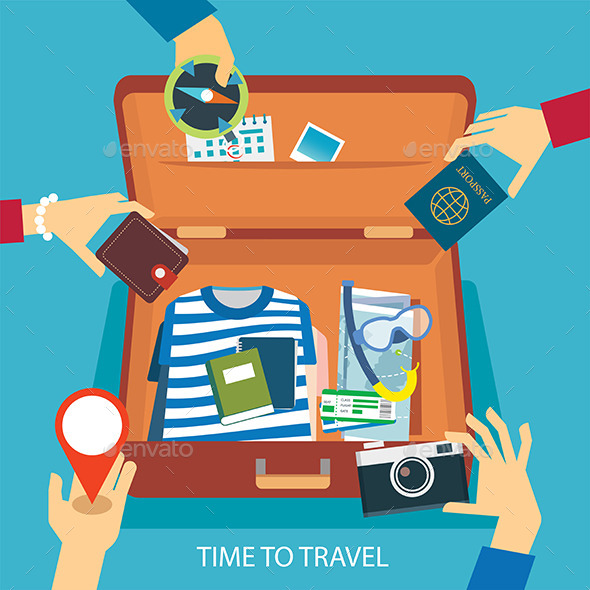 Time to Travel Concept Flat Design - Seasons/Holidays Conceptual