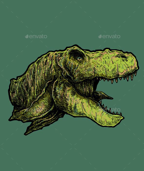 T-rex Head Vector - Animals Characters