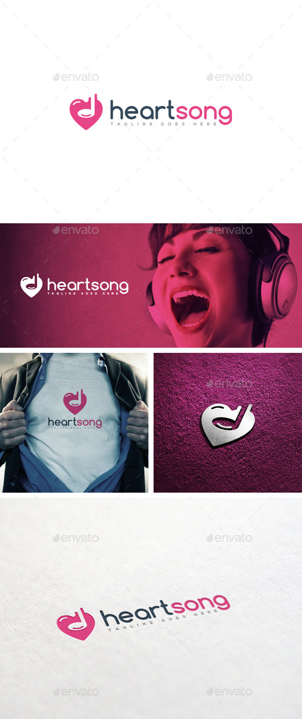 Heart Song Logo Template - Logo Templates