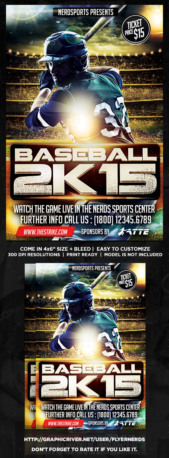 Baseball 2K15 Championships Flyer - Sports Events
