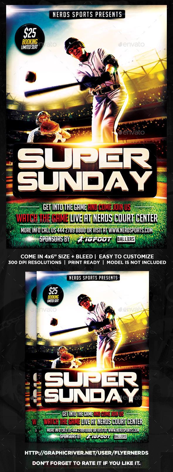 Super Sunday Baseball Championships Sports Flyer - Sports Events
