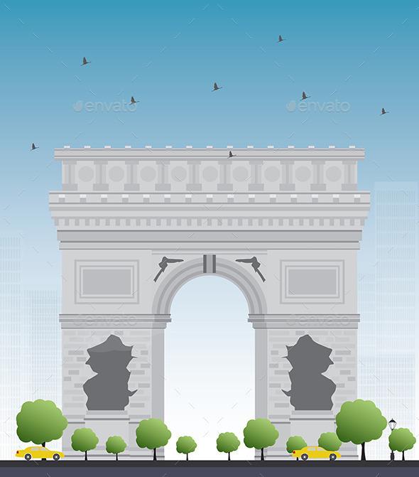 Arch of Triumph. France Paris. - Buildings Objects