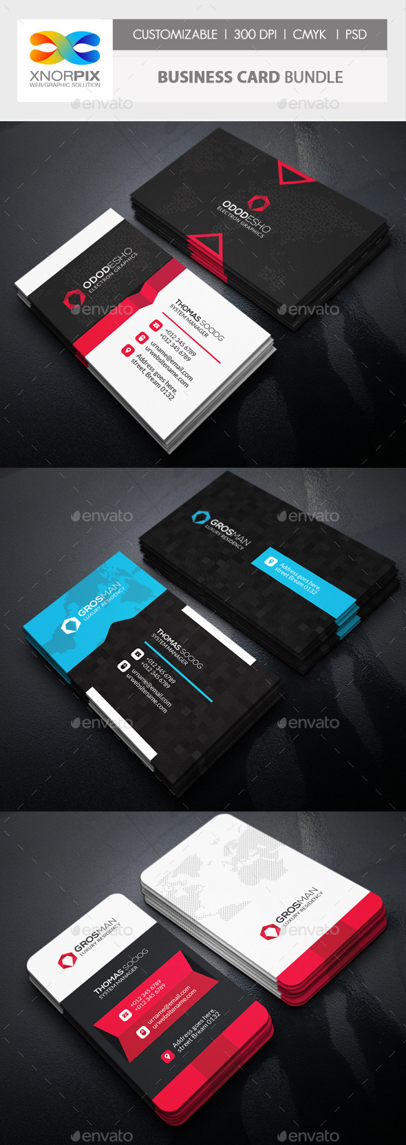 Business Card Bundle 3 in 1-Vol 56 - Corporate Business Cards