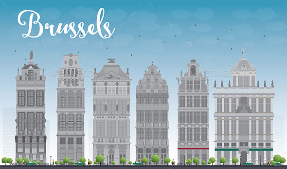 Brussels Skyline with Ornate Buildings - Buildings Objects