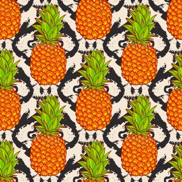 Tropical Pineapples Background  - Backgrounds Decorative