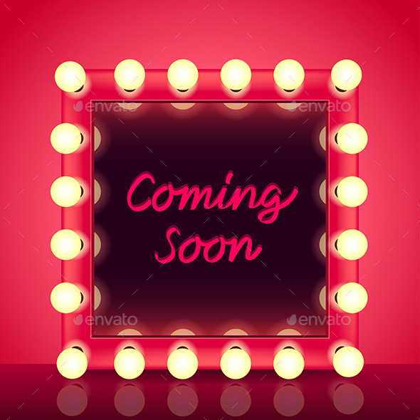 Coming Soon Concept with Makeup Mirror Vector - Backgrounds Decorative
