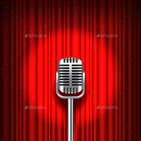 Red Curtain and Stage with Microphone Vector - Backgrounds Decorative