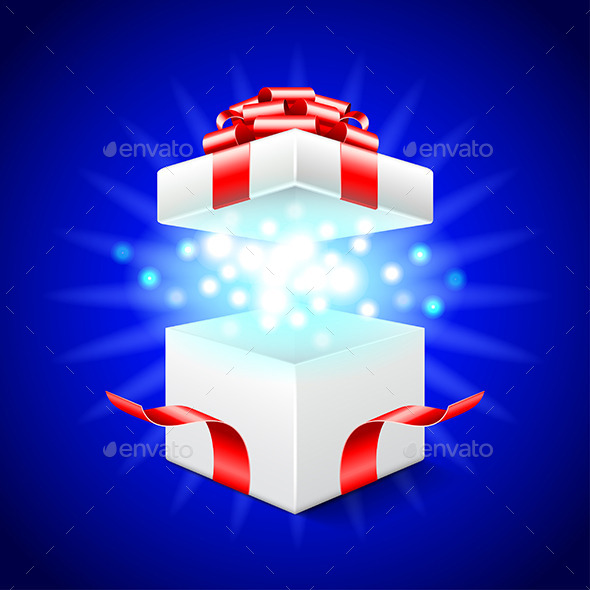 Opened Gift Box on Blue Vector Background - Christmas Seasons/Holidays