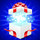 Opened Gift Box on Blue Vector Background - GraphicRiver Item for Sale