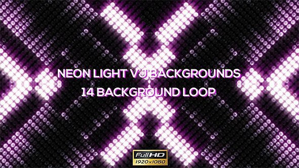 Neon Round Lights VJ Backgrounds – 14 Pack