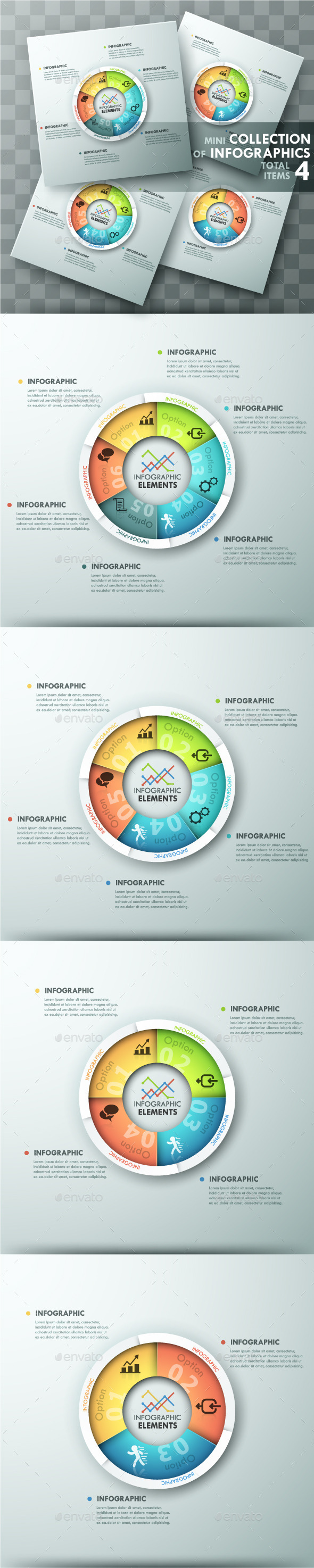 Modern Infographic Spiral Charts (4 Items) - Infographics