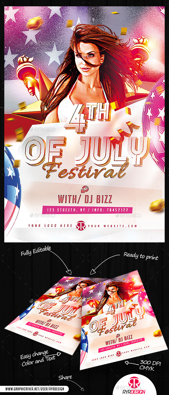 4th Of  July Festival Flyer PSD - Holidays Events