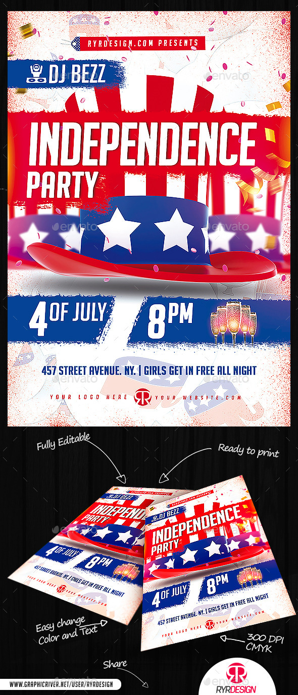 Independence Day Party Flyer PSD - Holidays Events