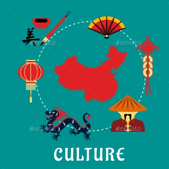 Chinese Culture Icons Around a Map - Travel Conceptual