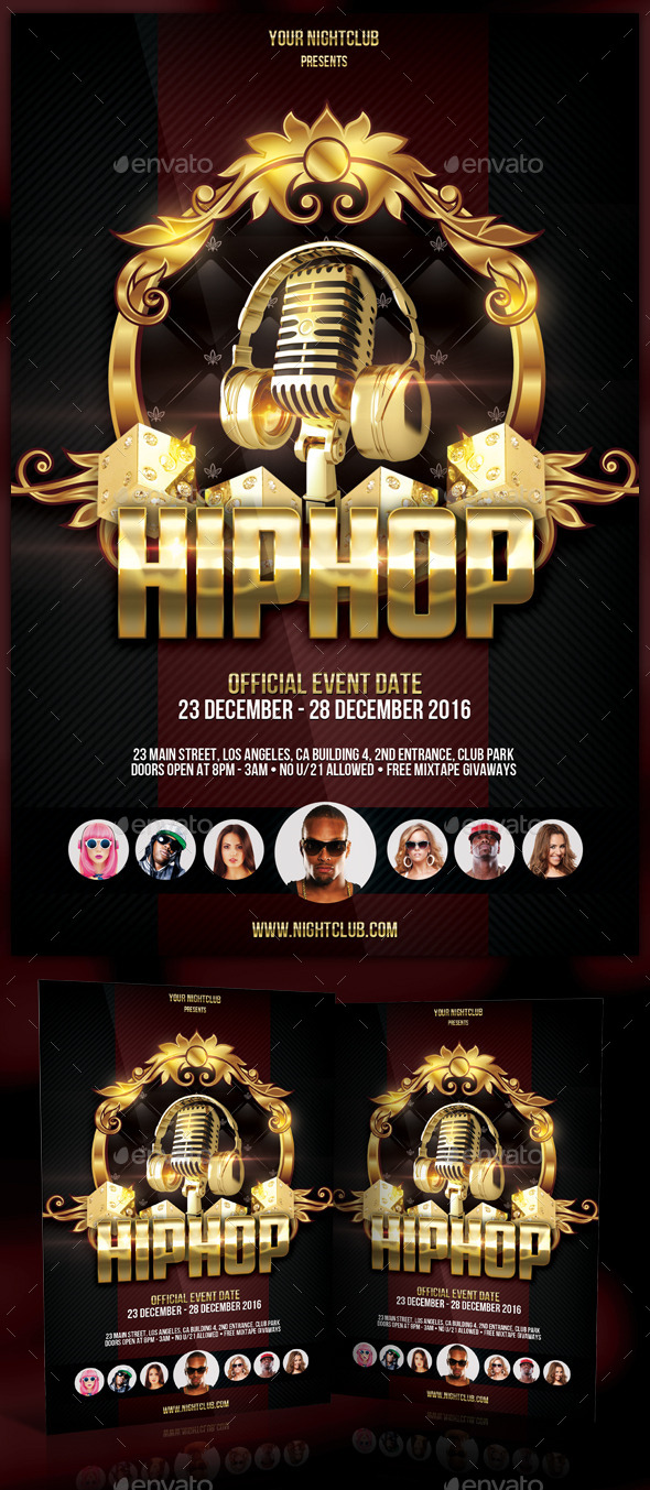 Gold Music Flyer Template - Clubs & Parties Events