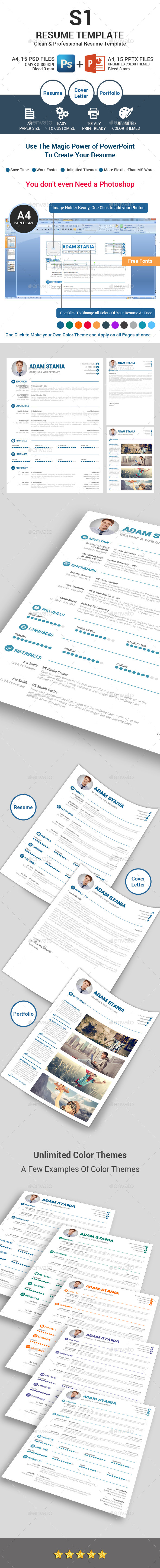S1 Clean  Resume Template  - Resumes Stationery
