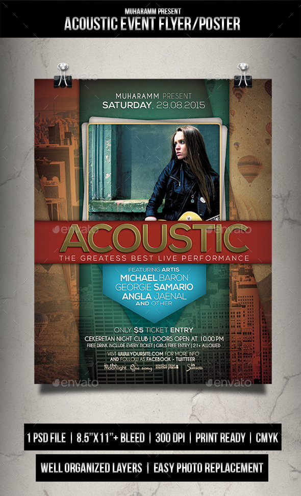 Acoutic Event Party Flyer / Poster - Events Flyers