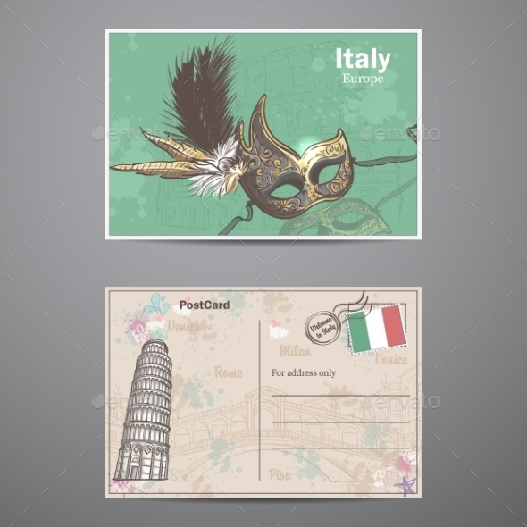 A Set Of Two Sides Of a Postcard Italy - Decorative Vectors