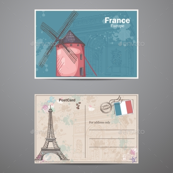 A Set Of Two Sides Of a Postcard France - Decorative Vectors