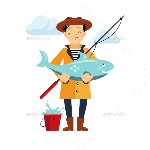 Fisherman And Fish Vector Illustration - People Characters