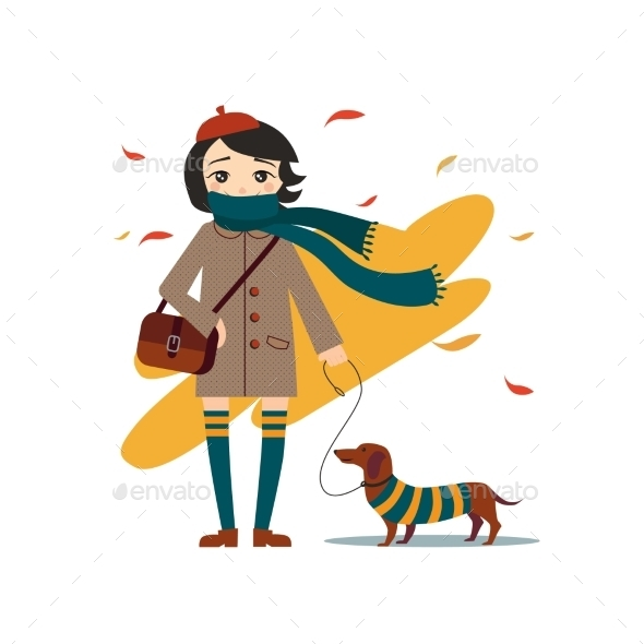 Young Girl Walking With Dog - People Characters