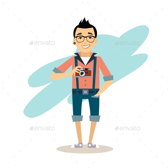 Creative Photographer Flat Illustration - People Characters