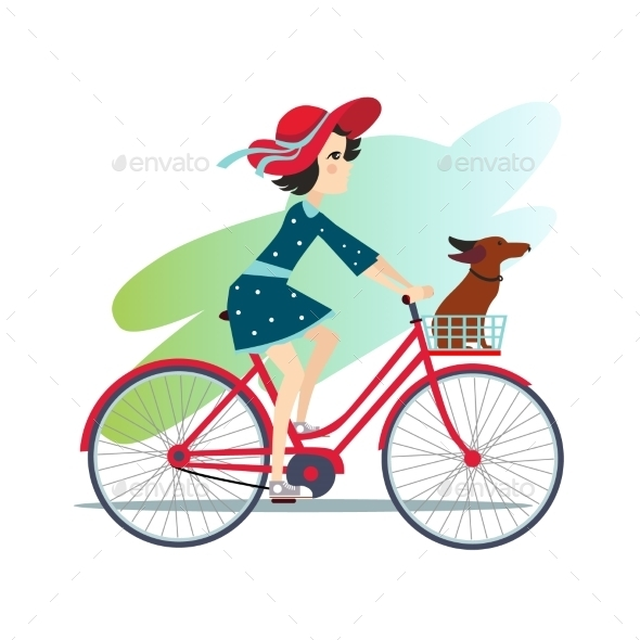 Girl Is Riding Bike On Spring Field - People Characters