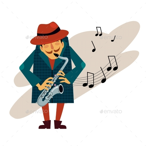 Saxophonist Playing Love Melody Vector  - People Characters