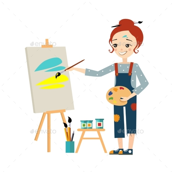 Artist Woman Painting On Canvas - People Characters