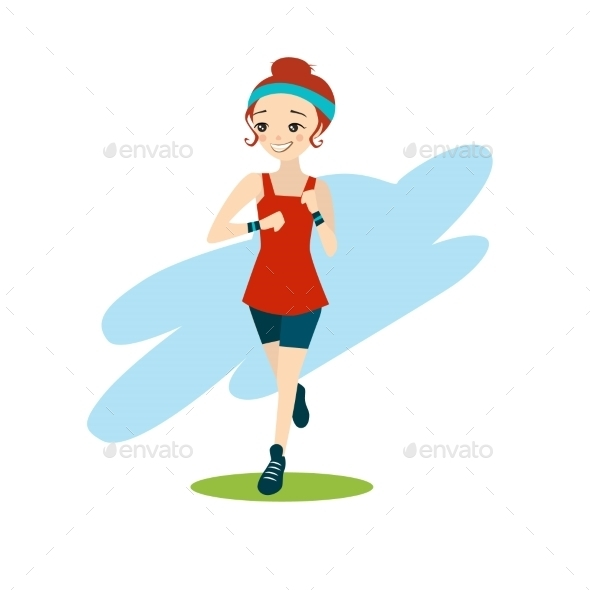 Illustration Of a Cartoon Girl Running - People Characters