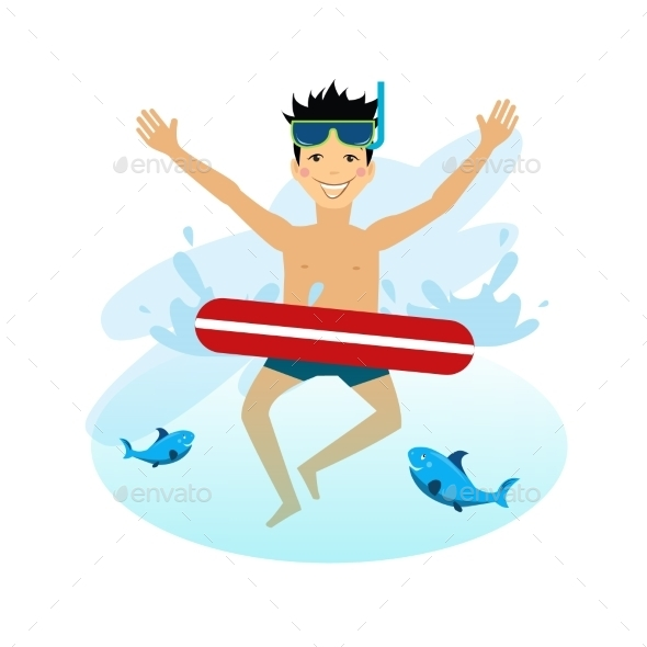 Boy Swimming With Inflatable Circle - People Characters