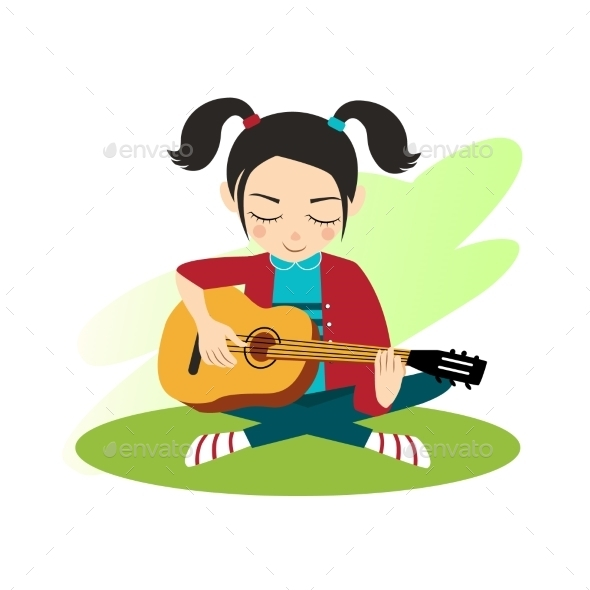 Girl Plays Guitar - People Characters