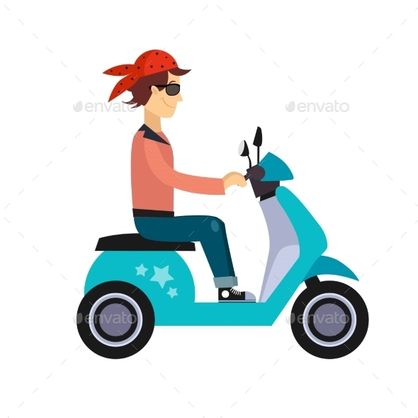 Hipster Young Man Characters Riding Fast Retro - People Characters