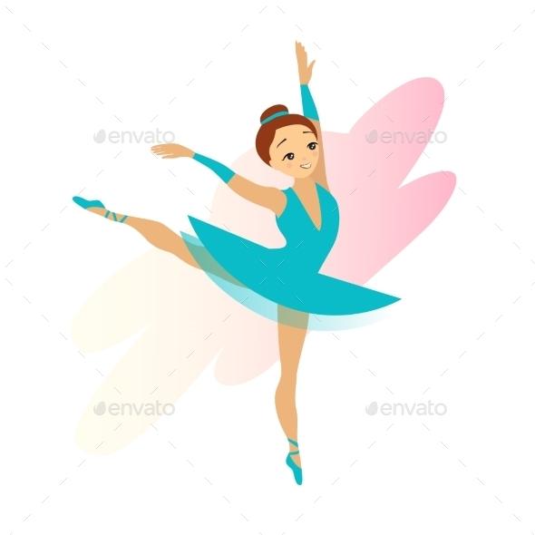 Cyan Ballerina Girl Isolated On White - People Characters