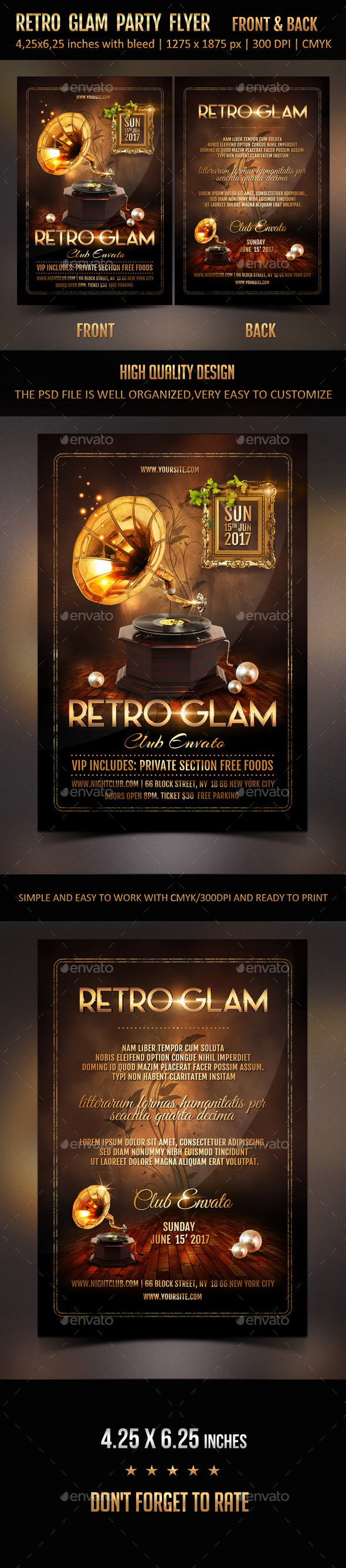 Retro Glam Party Flyer - Clubs & Parties Events