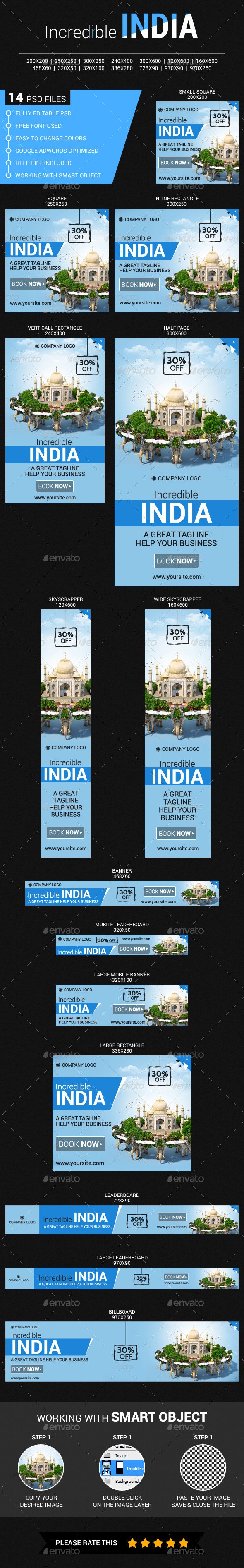 Travel in India - Banners & Ads Web Elements