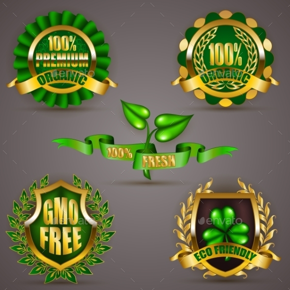 Golden Badges With Laurel Wreath - Decorative Symbols Decorative