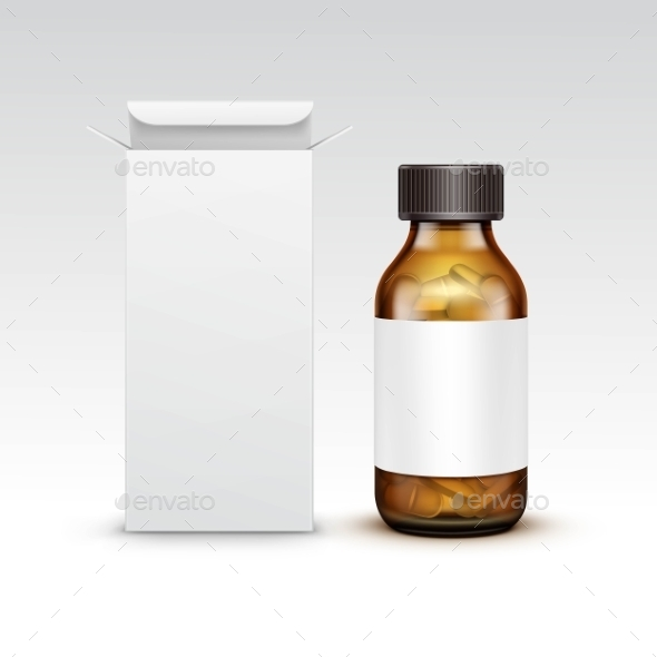 Blank Medicine Medical Glass Bottle - Health/Medicine Conceptual