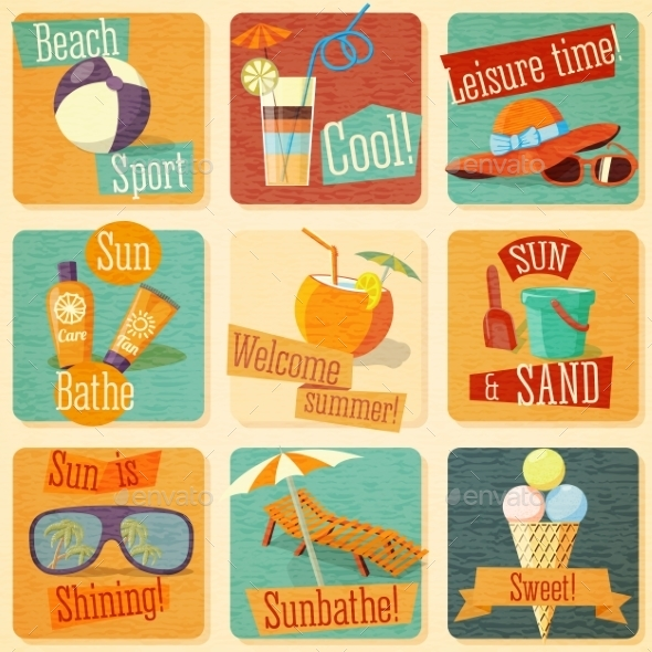 Set Of Retro Stylized Summer Icons - Travel Conceptual