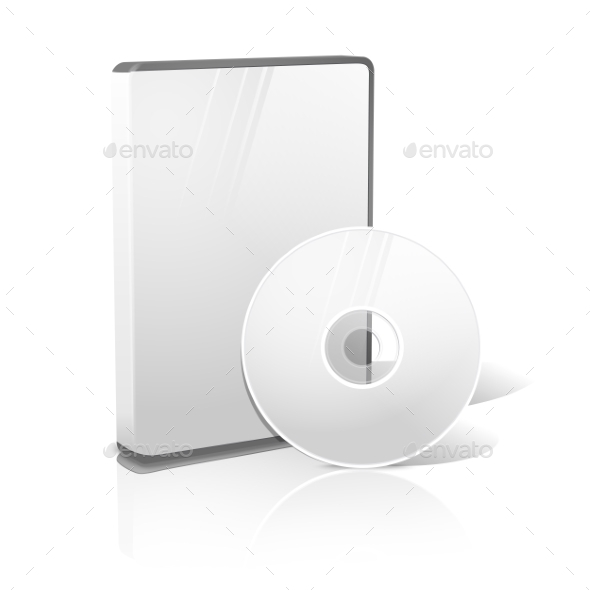 White Realistic Isolated DVD, CD, Blue-Ray Case - Computers Technology